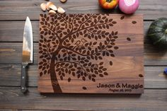 Personalized Cutting Board Wood Cutting Board with Birds on Love Tree Heart Custom Wedding Gift Anniversary Gift Custom Engraved