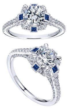 From the Amavida Bridal Collection, an 18k White Gold Contemporary Halo Engagement Ring.