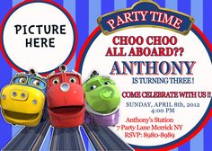 Chuggington Birthday Invitation by VIVICoutureDesigns on Etsy, $12.00