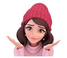 Summer 2 (in Winter) by Yinxuan Li Dezarmenien sticker Girl Cartoon Characters, Cartoon Girl Images, Cute Cartoon Pictures, Cute Cartoon Girl, Cute Love Cartoons, Cartoon Pics, Cute Cartoon Wallpapers, Cartoon Art, Girl Emoji
