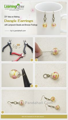 DIY-Idea-on-Making-Dangle-Earrings-with-Lampwork-Beads-and-Bronze-Findings