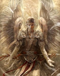 Archangel Raphael- Digital Art by Eve Ventrue Angels Among Us, Angels And Demons, Eve Ventrue, Male Angels, Angel Warrior, I Believe In Angels, Ange Demon, Guardian Angels, Angel Art