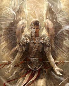 Archangel Raphael- Digital Art by Eve Ventrue Angels Among Us, Angels And Demons, Eve Ventrue, Male Angels, Angel Warrior, I Believe In Angels, Ange Demon, Wow Art, Guardian Angels