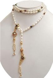 unique pearl necklace with gems