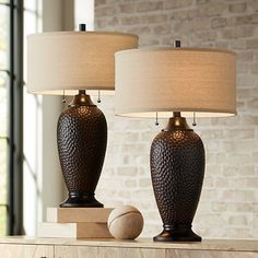 Cody Modern Table Lamps Set of 2 Hammered Oiled Bronze Oatmeal Linen Drum Shade for Living Room Family Bedroom Office - 360 Lighting Rustic Table Lamps, Table Lamps For Bedroom, Metal Table Lamps, Table Lamp Sets, Living Room Table Lamps, Bedroom Decor, Chandeliers, Chandelier Lighting, Transitional Table Lamps