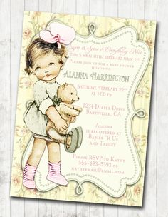 Shabby Chic Floral Vintage Baby Shower Invitation For by jjMcBean, $20.00