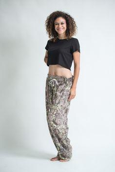 Thai Organic Cotton Patchwork Women's Drawstring Pants Light Brown