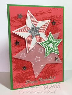 Happy Birthday in Christmas Colours - visit my blog for more great ideas.....shop online for Stampin' Up! 24/7 Vanessa Webb Stampin' Up! Independent Demonstrator, Australia