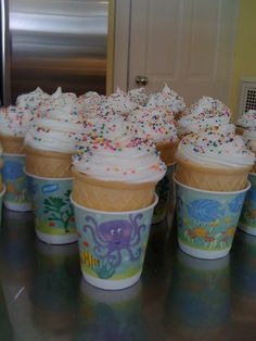 """""""Ice Cream Cone"""" Cupcakes. Easy to transport in these little Dixie cups!"""