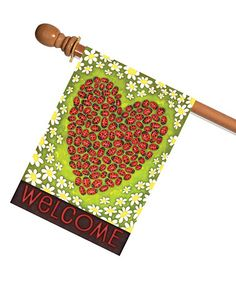Loving this Ladybug Heart Outdoor Flag on #zulily! #zulilyfinds