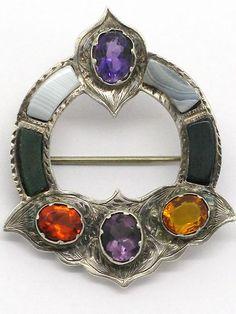SCOTTISH Sterling AGATE & Gemstone Pin