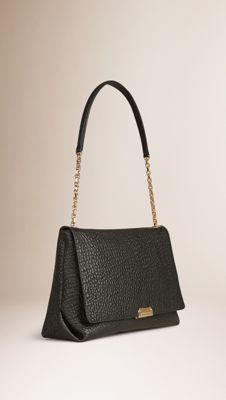 6d70ab45ed4 Burberry Large Signature Grain Leather Shoulder Bag - Black Burberry  Handbags