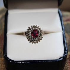 18k White Gold Ruby & Diamond Cluster Estate Ring by meliso, $695.00