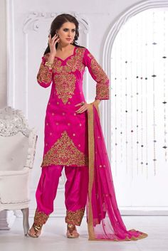 Pink Art Silk Punjabi Salwar Suit with Dupatta