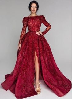Luxury evening dresses with sleeves Lace Prom Dresses Long Ro .- Luxury evening dresses with sleeves Lace prom dresses long red wedding dresses, prom dresses, evening dresses - Split Prom Dresses, Formal Dresses With Sleeves, Red Wedding Dresses, Bridesmaid Dresses, Prom Gowns, Dress Prom, Bridal Gowns, Celebrity Gowns, Ball Gowns