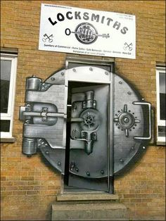 A whole board filled with street art for you! Locksmiths, London - great example of practical street art Cool Doors, Unique Doors, Bank Safe, When One Door Closes, Knobs And Knockers, Door Knobs, Grafiti, Sidewalk Art, Shop Fronts