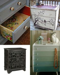 DIY::Upcycled Dressers: Painted, Wallpapered, & Decoupaged- ideas, tips, and tutorials ! @ DIY Home Ideas. I really wanna try this one day Furniture Projects, Furniture Making, Furniture Makeover, Home Projects, Diy Furniture, Furniture Refinishing, Modern Furniture, Repurposed Furniture, Painted Furniture