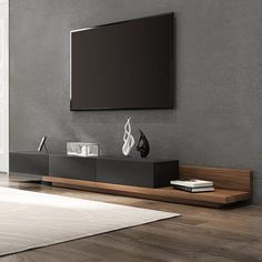 Painel Tv Sala Grande, Home Living Room, Living Room Decor, Modern Tv Room, Modern Living, Modern Tv Units, Tv Stand Console, Black Tv Console, Floating Tv Console
