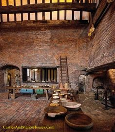 Medieval Kitchen, Gainsborough Old Hall, Gainsborough, Lincolnshire, England.... http://www.castlesandmanorhouses.com/photos.htm ... The hall was built by Sir Thomas Burgh in 1460. In 1484 Sir Thomas entertained King Richard III in his hall. King Henry VIII visited Gainsborough twice; once in 1509 and again in 1541 with the doomed Queen Catherine Howard. The Queen was accused of indiscretions both at Gainsborough and nearby Lincoln, for which she was executed.