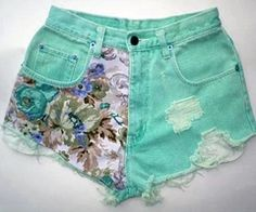 Printed and Destroyed Light Blue High Waisted Shorts
