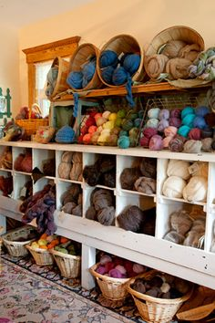 Baskets and cubbies of yarn = bliss!