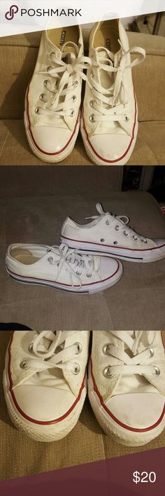White Coverse All Star Lightly used white Converse. Size 6 in Womens (US). Made in Vietnam. Only been worn a couple of times. Some very slight marks/color but barely noticable . And a tiny bit on the toe that can be cleaned. I can before shipping if needed. Converse Shoes Sneakers