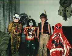 Jimmy was the Lone Ranger, I'm not sure who's hiding behind the werewolf mask, my brother Jaron with his half-assed Indian costume, and I think a cousin in that superb Spiderman costume. It looks like a tablecloth. Amazing Halloween Costumes, Vintage Halloween Photos, Retro Halloween, Holidays Halloween, Halloween Kids, Happy Halloween, Halloween Images, Vintage Holiday, Halloween Tablecloth