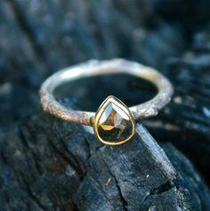 Black Rose Cut Diamond, 14k Gold + Sterling Silver Twig Ring