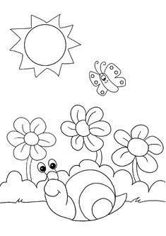 20 Disegni di Paesaggi Primaverili da Colorare | PianetaBambini.it Preschool Coloring Pages, Preschool Worksheets, Preschool Crafts, Free Applique Patterns, Embroidery Art, Kids Rugs, Fine Art, Quilts, Drawings