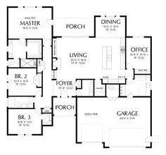 Main Floor Plan of Mascord Plan 1245C - The Lincoln - Curb Appeal Is Just The Start