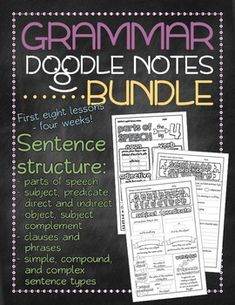 Templates to make your own doodle notes for your classroom doodle bundle 1 grammar doodle notes unit 1 sentence structure fandeluxe Choice Image
