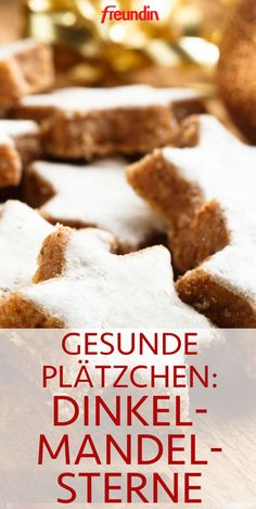 "Gesunde Plätzchen: Dinkel-Mandel-Sterne Cookies don't always have to have an unhealthy ""aftertaste"". We'll tell you three recipes for healthy cookies that you can use to snack on without a guilty conscience. Our mouths are already watering! Healthy Cookie Recipes, Healthy Cookies, Healthy Foods To Eat, Healthy Desserts, Crockpot Recipes, Vegetarian Recipes, Dessert Recipes, Healthy Biscuits, Vegetable Protein"