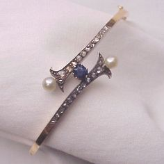 14Kt. Gold Bracelet with Silver, Rose Cut Diamonds, Sapphire and Cultured Pearl Decoration - Circa 1900 found on Ruby Lane
