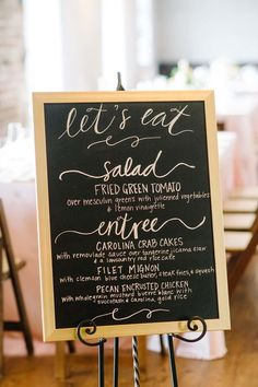 Wedding sign idea - chalkboard sign in gold frame with wedding menu in elegant calligraphy {Aaron and Jillian Photography}