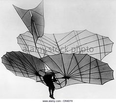 Lilienthal, Otto, 23.5.1848 - 10.5.1896, German aviation pioneer, during flight test on the Fliegeberg, Berlin, - Stock Image
