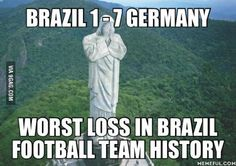 Christ the Redeemer's response to Brazil's loss at the World Cup