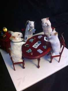 I thought I'd seen it all, but no. Taxidermy mice playing poker.