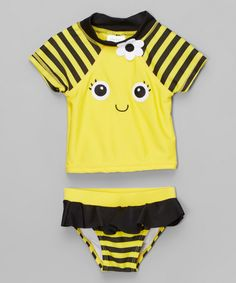 Look what I found on #zulily! Candlesticks Yellow & Black Bumblebee Rashguard Set - Infant & Toddler by Candlesticks #zulilyfinds