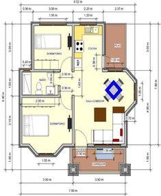 plano de casa de 72 m2 un piso 2 dormitorios #casasdecampodeunpiso