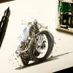 Primary colors and a Harley. Some nice ink work by @captain_tom. Thanks! Send your moto art to contact.croig@gmail.com for a chance to be featured. #croig #caferacersofinstagram