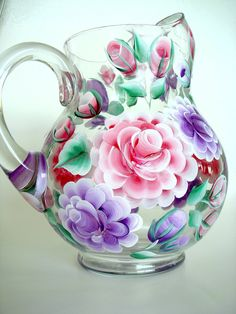 Hand Painted Glass Pitcher with Red and Purple Roses Decorative for your Kitchen. $55.00, via Etsy.