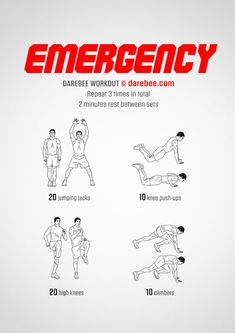 Emergency is your go-to Darebee workout when you have barely any time to yourself. Darbee Workout, Ab Floor Workout, Neila Rey Workout, Best Workout Plan, Hiit Workout At Home, Calisthenics Workout, Triceps Workout, Boxing Workout, At Home Workouts