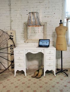 Painted Cottage Chic Shabby White Romantic Desk by paintedcottages, $295.00