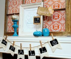 Tuquoise and Orange Mantel......Humnnnn....Interesting color blend for fall decorating.  You could use this for late summer as well...