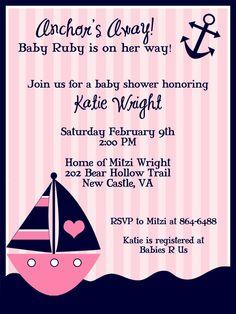 Perfect for a future Delta Gamma Girl!!! Nautical Baby Shower Invite