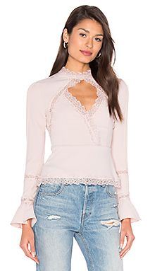 n / nicholas Diamond Cut Out Lace Top in Blush