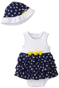 AmazonSmile: Little Me Baby-Girls Newborn Navy Flower Popover and Hat
