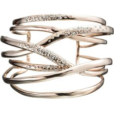 Alexis Bittar Bel Air Rose Gold Large Layered Orbit Cuff ($295) ❤ liked on Polyvore