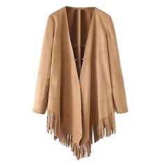 Khaki Asymmetric Hem Tassel Long Sleeve Suedette Coat (295 NOK) ❤ liked on Polyvore featuring outerwear, coats, jackets, persunmall, women coats, khaki trench coat, khaki coat, beige trench coat and long sleeve coat