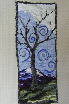 fall tree hand hooked rug-free shipping.